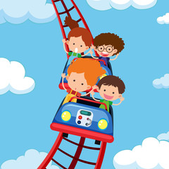 Kids riding roller coaster
