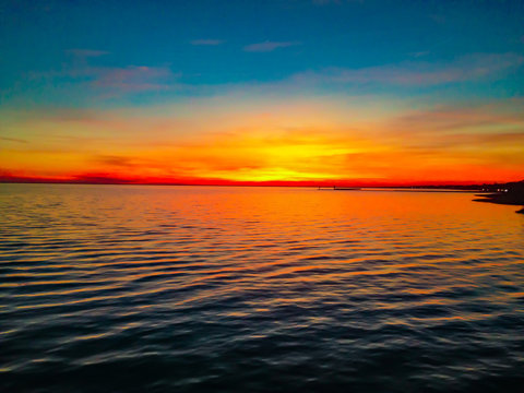 Louisiana Sunset Over Lake