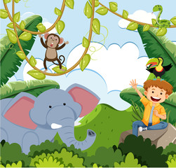 Boy and Animals in Jungle