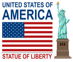 United states of america with the statue of liberty