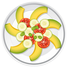 Salad with avocardo, tomato and cucumber