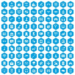 100 software icons set in blue hexagon isolated vector illustration