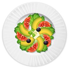 Sald with avocado tomato lettuce