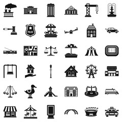 Big city icons set. Simple style of 36 big city vector icons for web isolated on white background