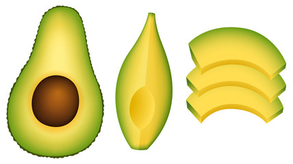 A Set of Cut Avocado