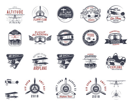Vintage hand drawn old fly stamps. Travel or business airplane tour emblems. Biplane academy labels. Retro aerial badge isolated. Pilot school logo. Plane tee design, prints, web design. Stock