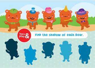 bear game. learn and play. Task to find objects for training of logical thinking. Find shadow and suit of each bear. Connect lines to match item. Vector isolated illustration. Hand draw
