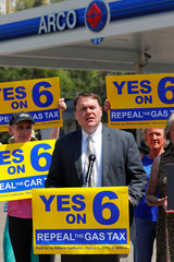 Gas tax organizer Carl DeMaio speaks on California Proposition 6, a growing movement to repeal a state gas tax, during an announcement from an Arco gas station in San Diego