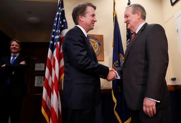 Supreme Court Justice nominee Brett Kavanaugh meets with Sen. Michael Crapo (R-ID) at his office in the Dirksen Senate Office Building in Washington, U.S.