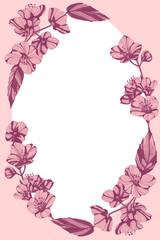 Awesome jasmine flowers frame. Hand drawn ink illustration.