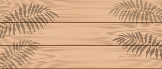Shadow of palm branches on light wooden boards. Summer background. Template for your design. Vector illustration