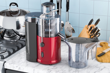 Electric juicer on the kitchen table. 3D rendering