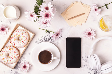 Breakfast - coffee, tephon, headphones. Wall mural