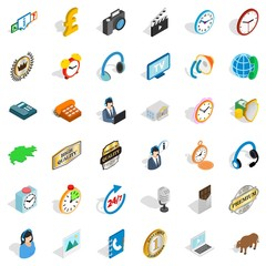 Office worker icons set. Isometric style of 36 office worker vector icons for web isolated on white background