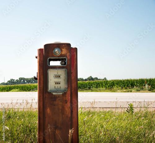 Roadside rusty old gas pump