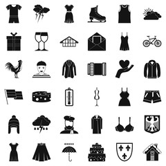 Accessories icons set. Simple style of 36 accessories vector icons for web isolated on white background