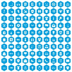 100 t-shirt icons set in blue hexagon isolated vector illustration