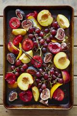 Roasted Fruit with Vanilla on Baking Tray