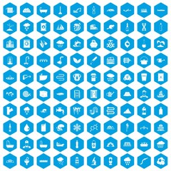 100 water supply icons set in blue hexagon isolated vector illustration