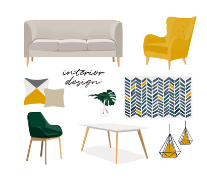 modern interior design vector illustration. living room furniture. sofa armchair chair mirror cabinet. mustache. Mood board of home house decor. Designer elements collection