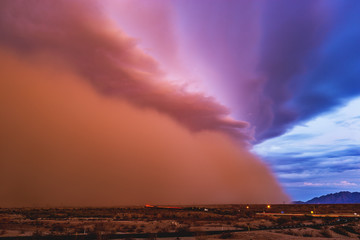 Dust storm moves through the Arizona desert.