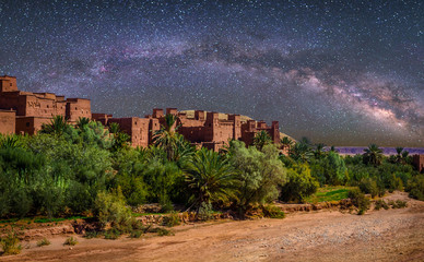Kasbah Ait Ben Haddou in the desert near Atlas Mountains at night, Morocco