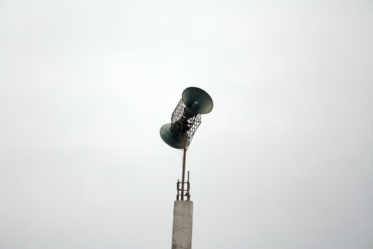 """Loudspeakers in mosques. Adhan/ athan/ azaan (""""call to prayer"""") is called out by a muezzin from the mosque via the loudspeakers five times a day."""
