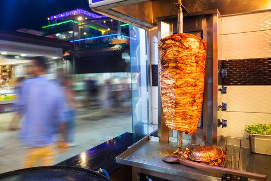 Turkish kebab on the street of Side, Turkey