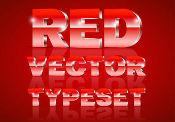 Red Metallic 3D Typeset