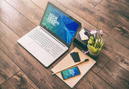 Laptop and Smartphone with Accessories Mockup