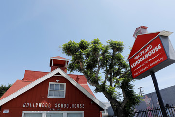 "The school where Meghan Markle went as a young child, formerly called ""Little Red School House"",  is seen in Los Angeles"