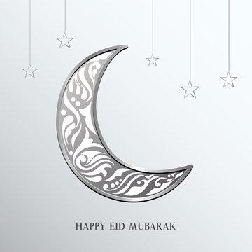 Ramadan mubarak background. Happy eid mubarak greeting card design with half moon vector illustration. Half moon vector illustration. Half moon illustration with silver color.