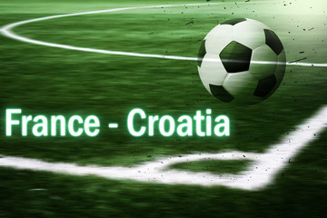 France - Croatia. World Cup football arena. Soccer ball on a blurred futball field background