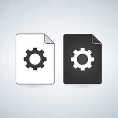 Document file vector icon with gear. settings concept. flat sign for mobile concept and web design. Paper doc simple solid icon. Symbol, logo illustration.