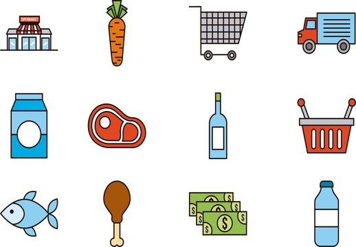 20 Colorful Grocery Store Icons