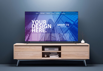 Smart TV on Wooden Consol Mockup
