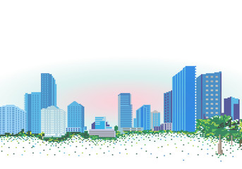 City landscape in the style of pixel graphics.