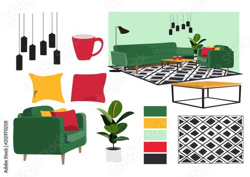 Vector Interior Design Illustration Furniture Collection Elements Impressive A Living Room Design Collection