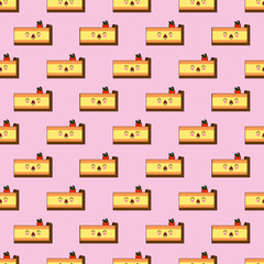 Seamless pattern of smiling kawaii style cake with different facial expressions on a pink background vector illustration