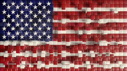 Flag of United States of America / American flag concept - creative, abstract 3D render
