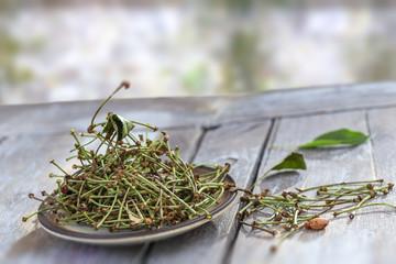 duretic, cherry tails medicine, healthy, herbal tea, virtues on wooden table