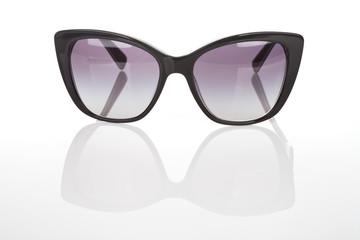 Elegant women sunglasses on white background