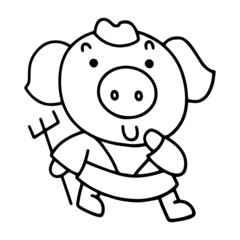 Piggy in Journey to the West, the Chinese Mythology Novel Tale