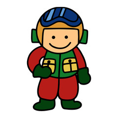 Pilot boy cartoon illustration isolated on white background for children color book