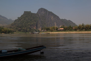 Laos: the mekong and the joining Nam Ou river seen from the lower Pak Ou cave near Luang Prabang