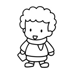 Little boy cartoon illustration isolated on white background for children color book