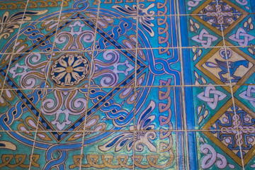 Beautiful Art Deco Tilework in Gold, Turquoise, and Blue in Los Angeles, California, USA