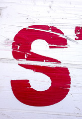 Written Wording in Distressed State Typography Found Letter S
