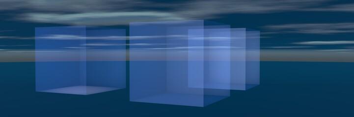 кубы на фоне неба