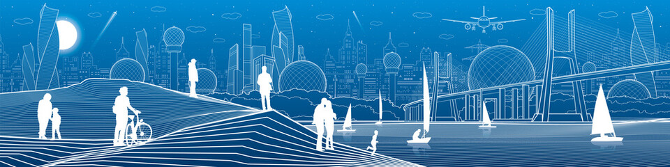 City infrastructure panoramic illustration. Big bridge across the river. People at shore. Sailing yachts on sea. White lines on blue background. Vector design art